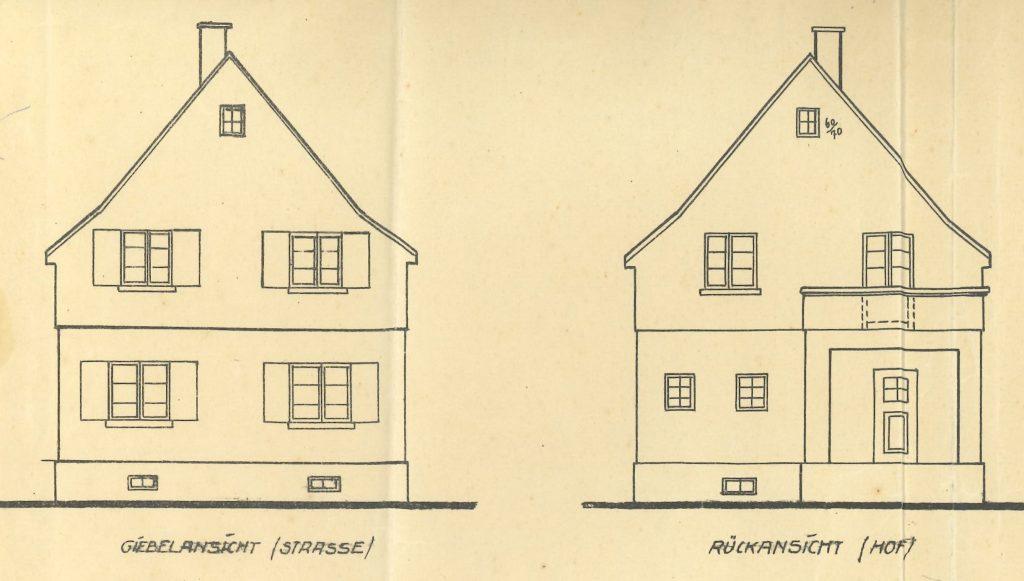 unser Haus in Ansichten und Schnitten der Ursprungsplanung 1926