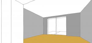 Raumskizze mit dunklen Wänden