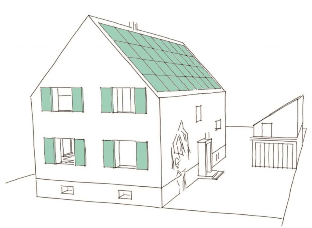Erste Ideenskizze für das Haus nach der Sanierung