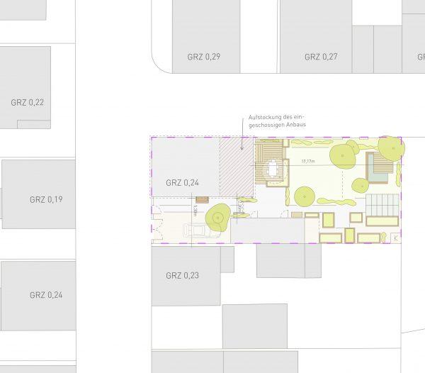 Grundstücksplan in unserem Bauantrag